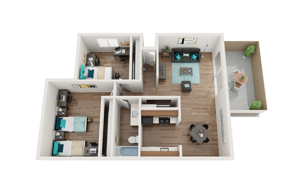 The Boardwalk Renovated - B2, B6 - 2 bedroom floorplan layout with 1 bath and 823 to 836 square feet.