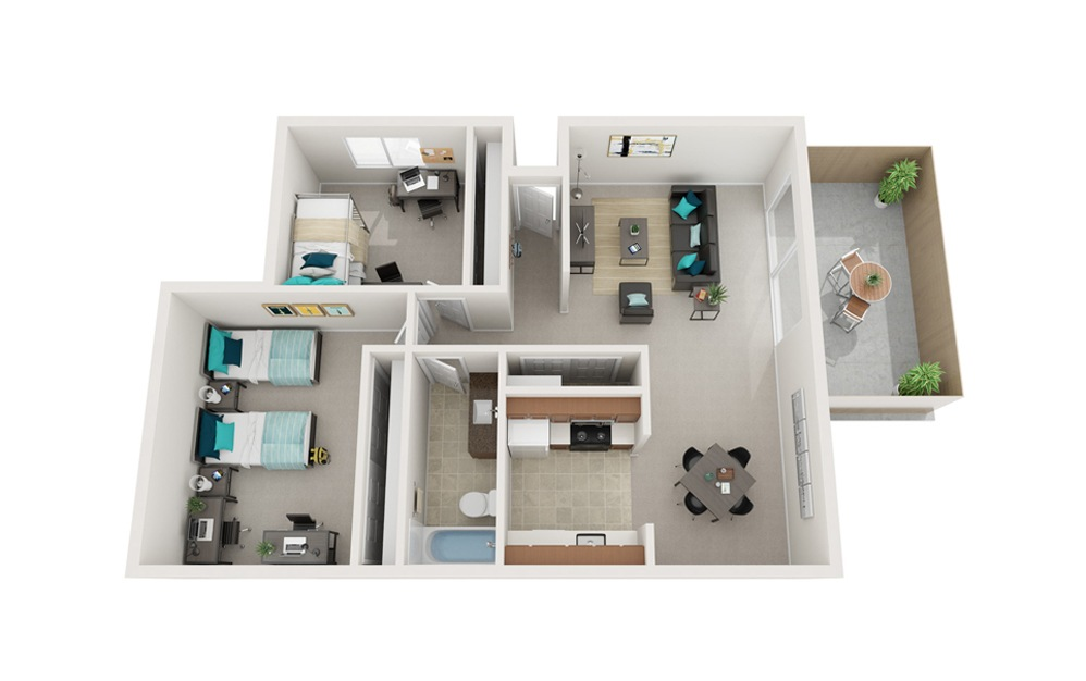 The Boardwalk - B1, B5 - 2 bedroom floorplan layout with 1 bath and 823 to 836 square feet.