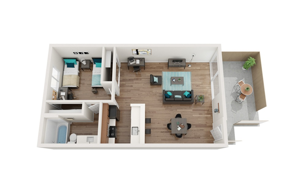 The Breakers Renovated - A4 - 1 bedroom floorplan layout with 1 bath and 657 square feet.