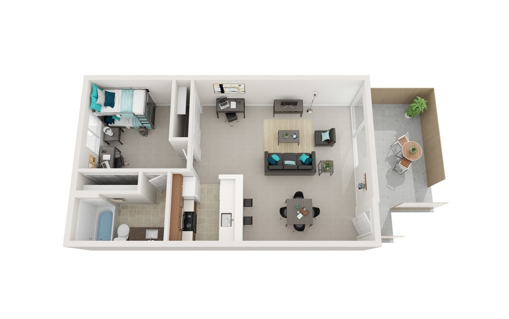 The Breakers - A1 - 1 bedroom floorplan layout with 1 bath and 657 square feet.