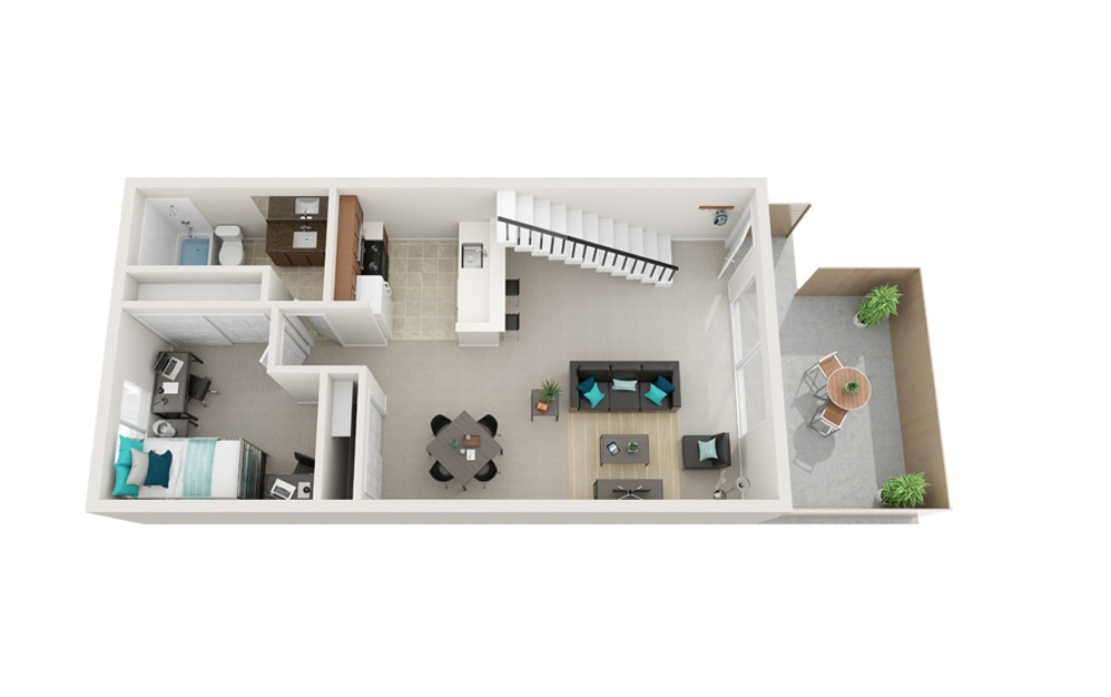 The Lighthouse - A2 - 1 bedroom floorplan layout with 1 bath and 818 square feet. (Floor 1)