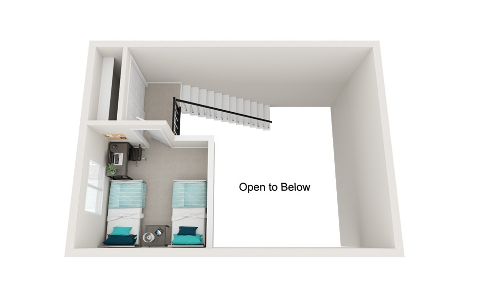 The Lighthouse - A2 - 1 bedroom floorplan layout with 1 bath and 818 square feet. (Floor 2)