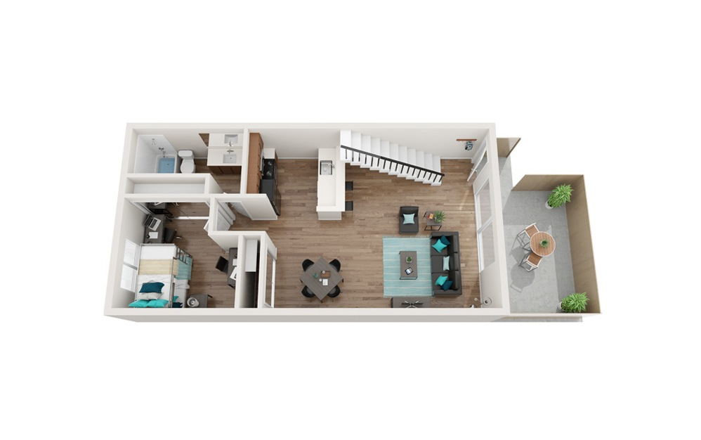 The Lighthouse Renovated - A3 - 1 bedroom floorplan layout with 1 bath and 818 square feet. (Floor 1)