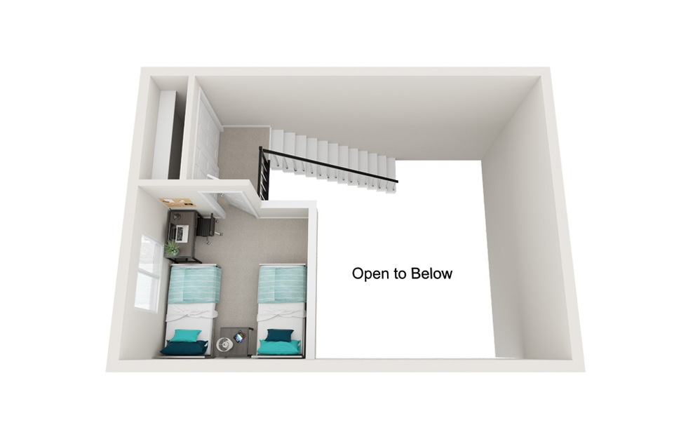 The Shoreline - B3 - 2 bedroom floorplan layout with 1 bath and 818 square feet. (Floor 2)