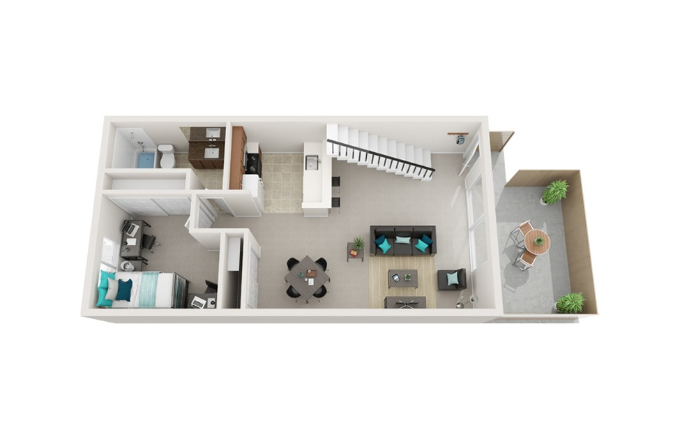 The Shoreline - B3 - 2 bedroom floorplan layout with 1 bath and 818 square feet. (Floor 1)