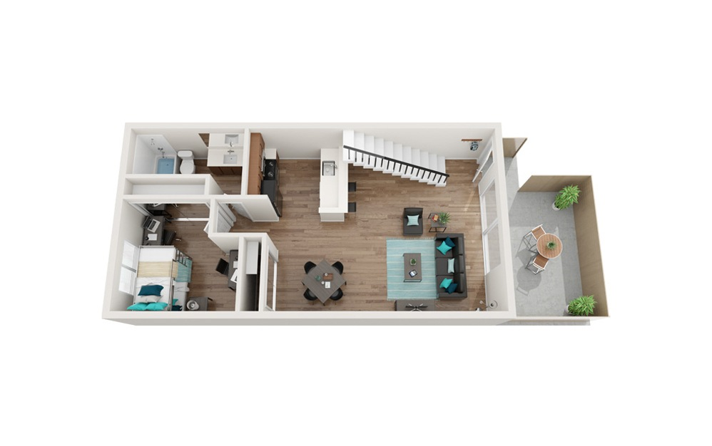 The Shoreline Renovated - B4 - 2 bedroom floorplan layout with 1 bath and 818 square feet. (Floor 1)